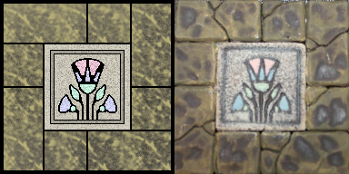 Side-by-side of a digital floor tile and a photo of the tile.