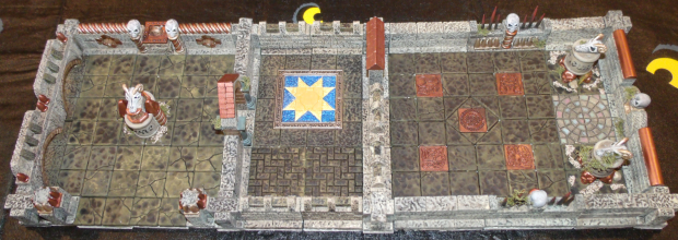 A top-down photo of some assembled terrain.